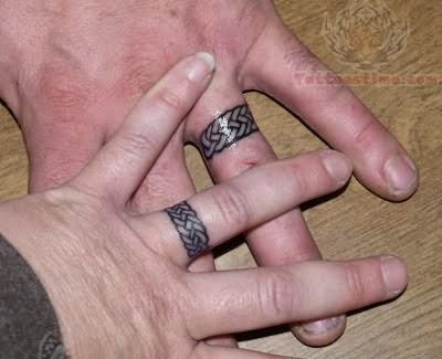 Wedding Rings Tattoo On Fingers