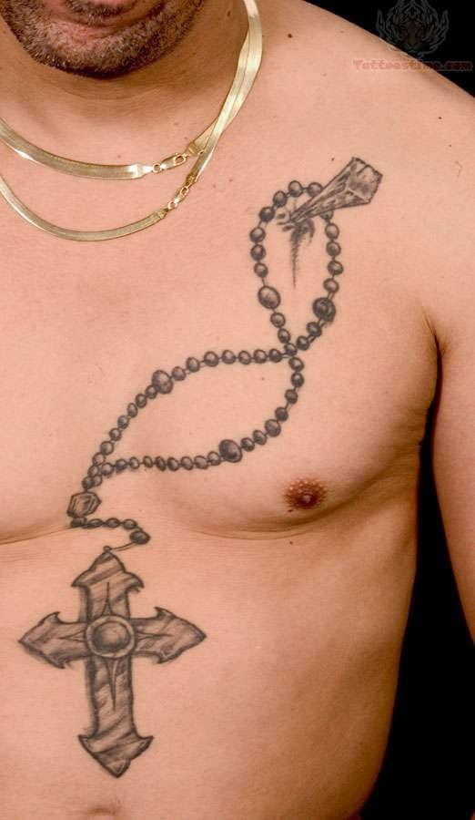 Big cross rosary tattoo for Big cross tattoos