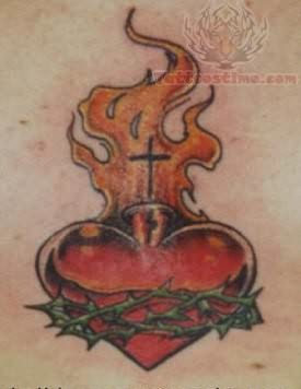 Sacred Heart Closeup Tattoo Image