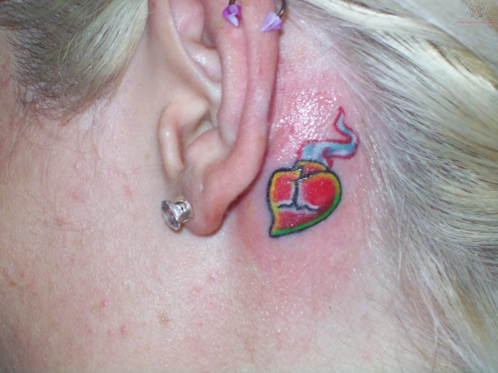 Sacred heart tattoo behind ear for Heart tattoo behind ear