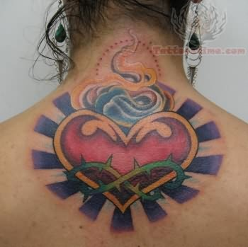 Upper Back Sacred Heart Tattoo