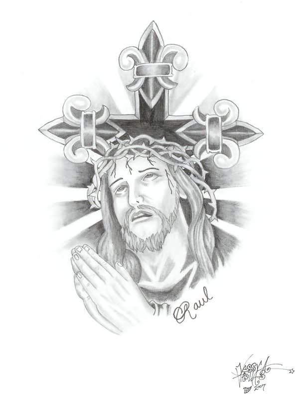 Jesus Christ Tattoo Drawing Jesus Christ On The Cross Drawings For Tattoos