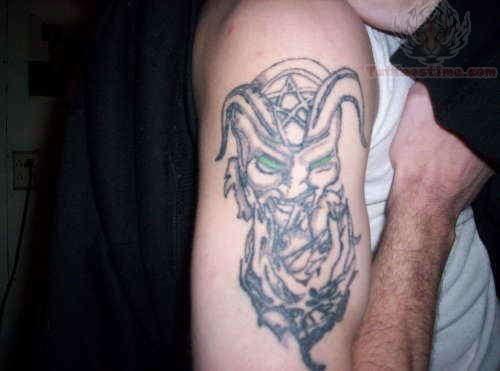 Satan Bicep Tattoo