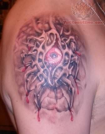 Satan Eye Tattoo On Shoulder
