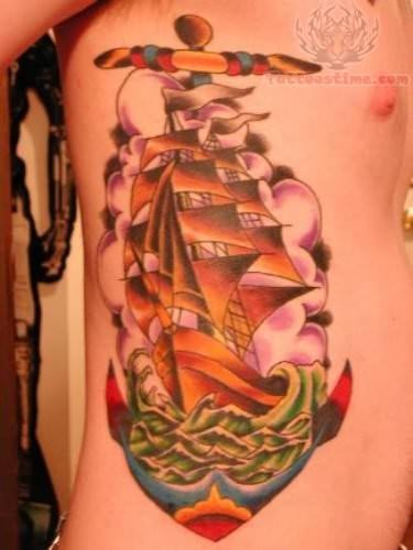 Anchor Ship Tattoo Design
