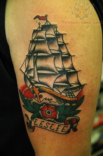 Bicep Ship Tattoo