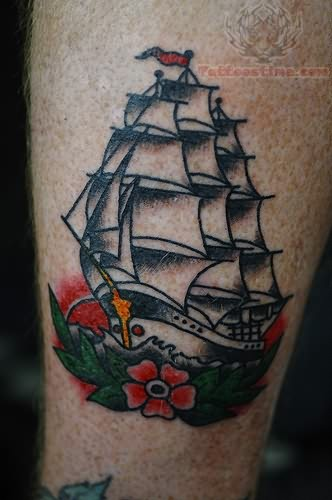 Color Ink Ship Tattoo