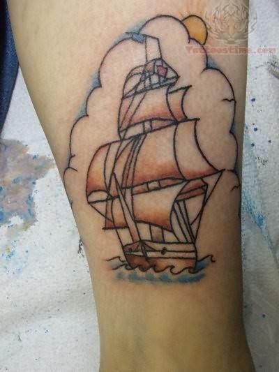 Ship Tattoo Small: Sun And Small Ship Tattoo