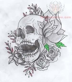 Best Skull And Flowers Tattoo Design