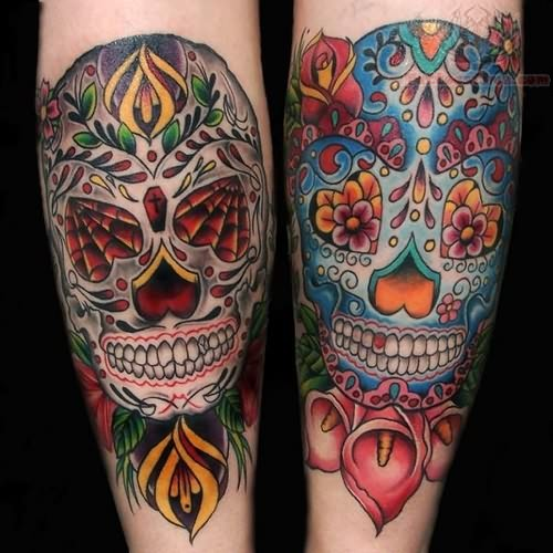 colorful sugar skull tatttoo