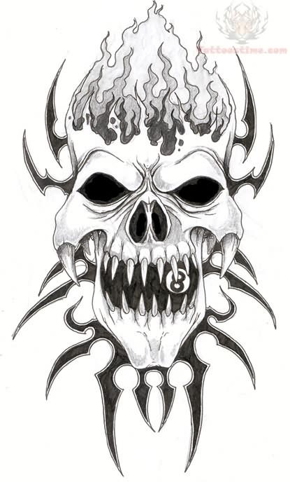 Skull Flash Art Tattoo Designs