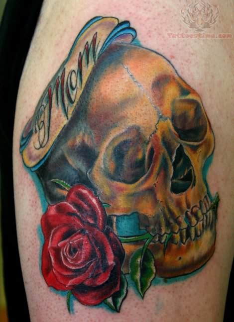 Mom Skull Tattoo On Bicep