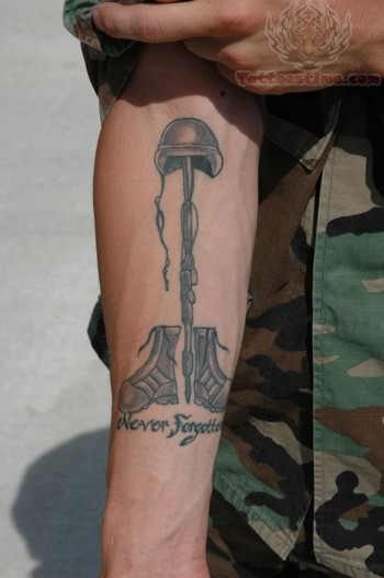 fallen soldier tattoo on arm. Black Bedroom Furniture Sets. Home Design Ideas