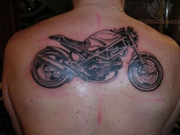 Sports Bike Tattoo On Upper Back