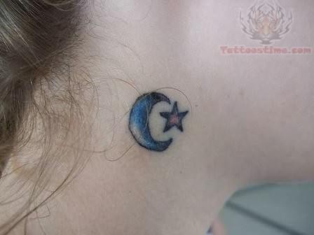 Moon and star tattoo on neck for Stars and moon tattoo
