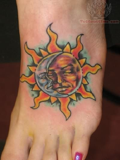 hot sun rays tattoo on foot. Black Bedroom Furniture Sets. Home Design Ideas