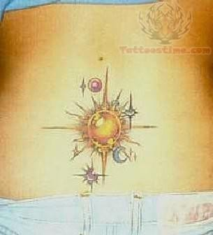 Sun Tattoo On Waist