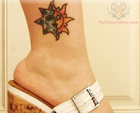 Taino Sun Tattoo On Ankle