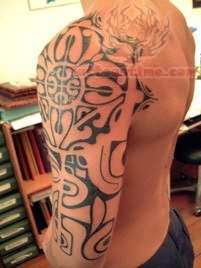 Taino Sun Tattoo On Full Sleeve