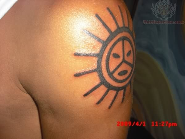Taino Sun Tattoo on Shoulder