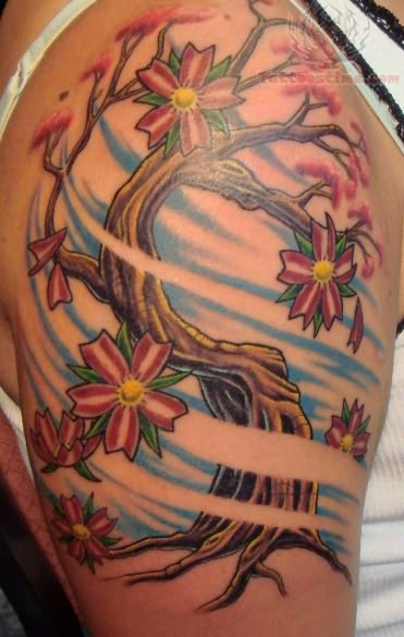 Cherry blossom tree tattoo on shoulder for Tree shoulder tattoo