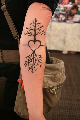 Tree And Heart Tattoo