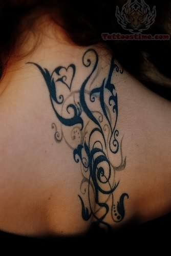 black ink tribal tattoo for girls