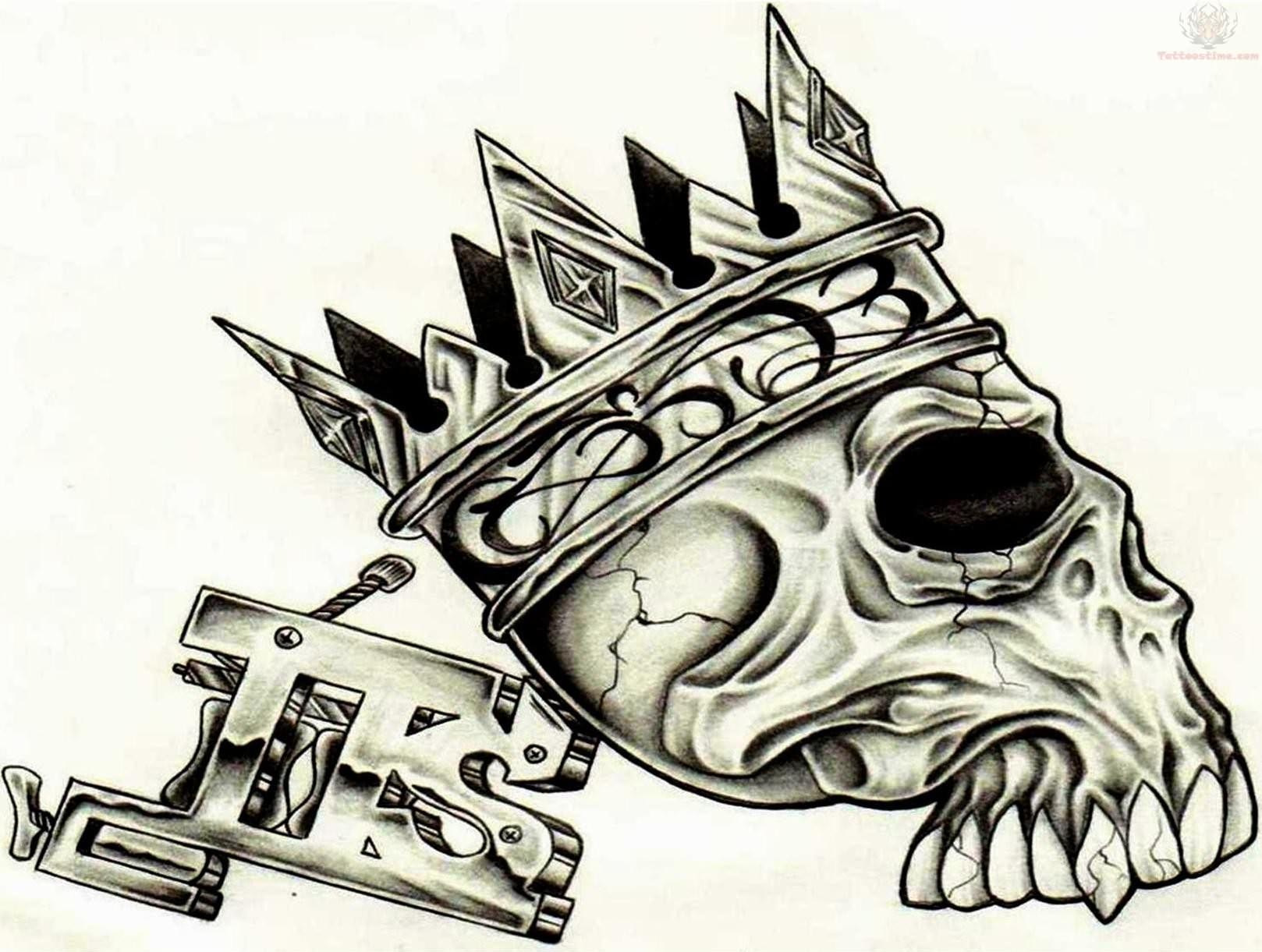 Skull with Crown Tattoo Designs