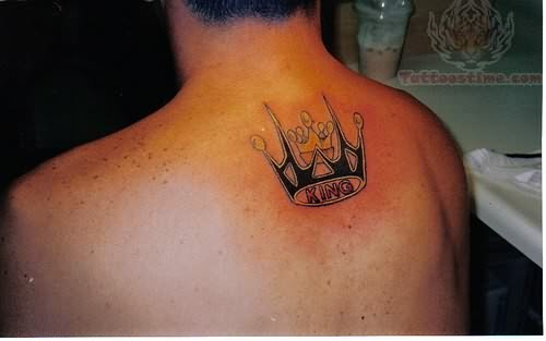 King Crown Tattoo On Upper Back