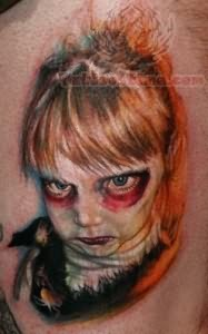 Vampire Tattoo On Back Shoulder