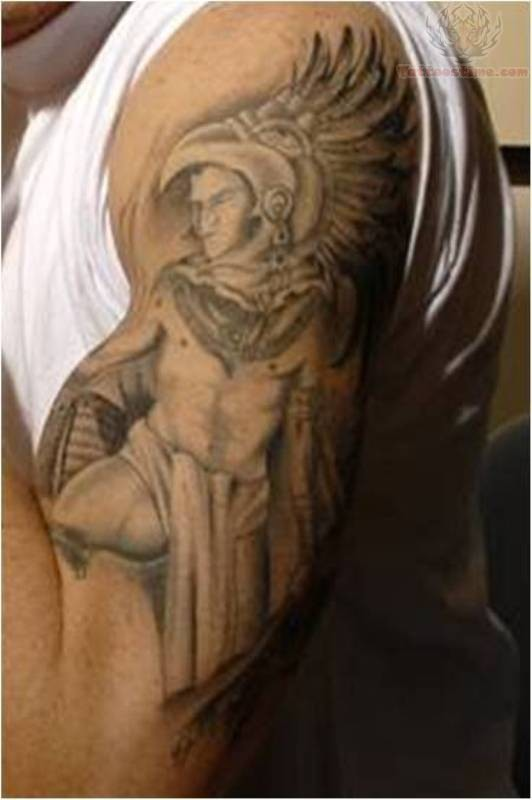 Aztec warrior tattoo on muscles for Aztec hand tattoo