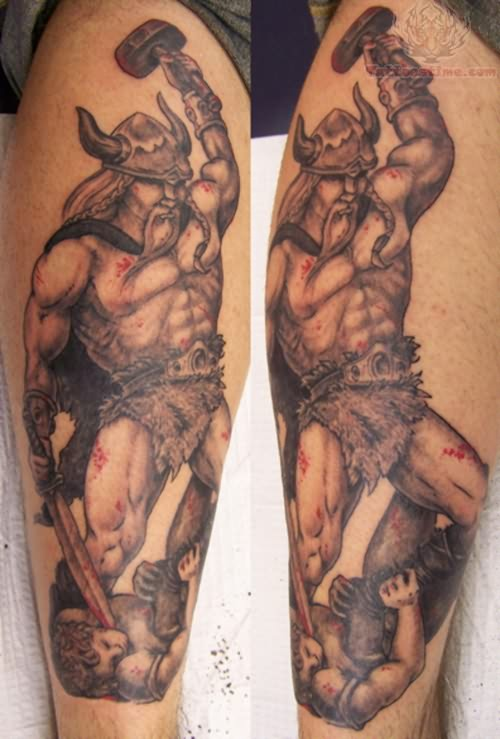 Viking Warrior Tattoo On Leg