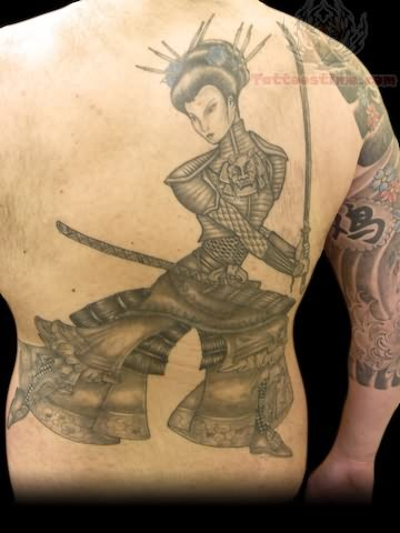 Warrior Tattoo On Back Body