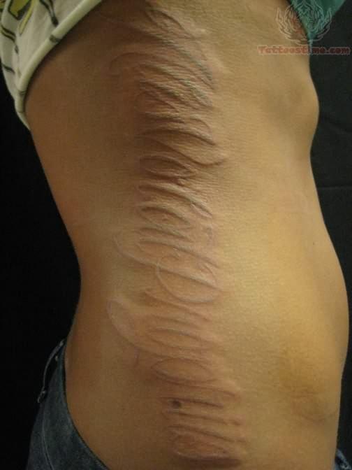 Side Rib White Ink Tattoo