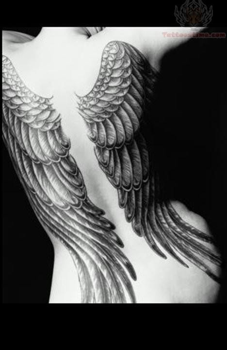 Large Wings Tattoos On Back Body