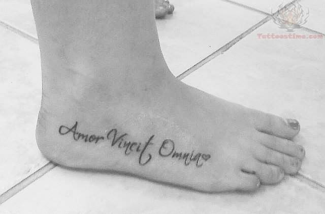 amor vincit omnia my word tattoo. Black Bedroom Furniture Sets. Home Design Ideas