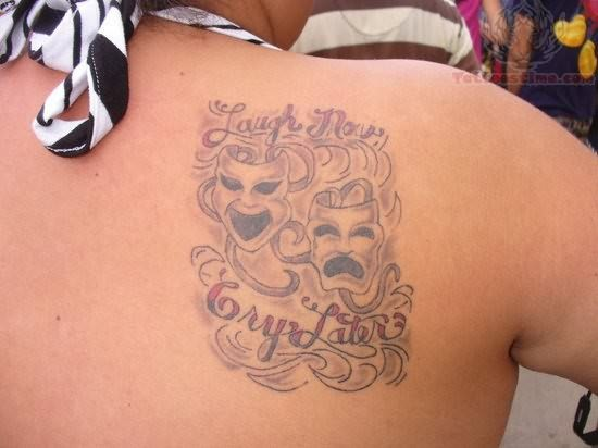 Laugh Now Cry Later Word Tattoo on Back
