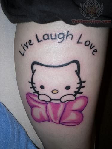 Live laugh love kitty tattoo on leg for Live love laugh tattoo