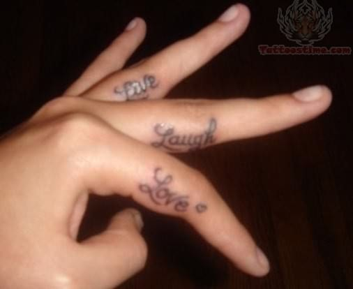 Live Laugh Love Tattoo On Fingers