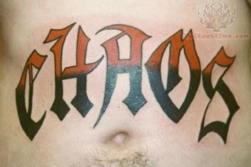 Old english font tattoo on stomach