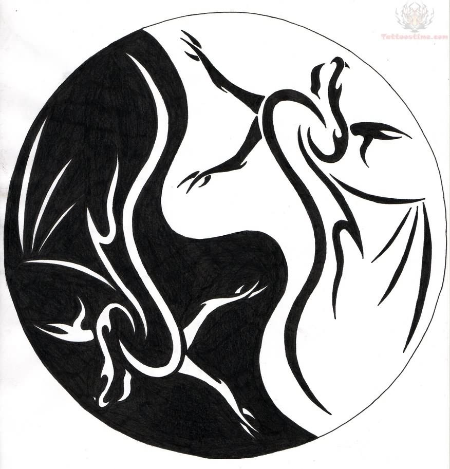 Dragon Bat Ying Yang Tattoo Sample