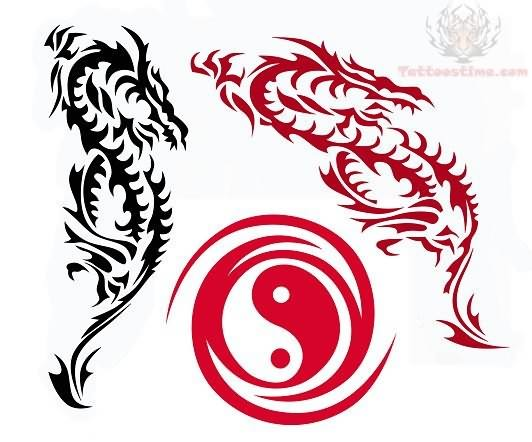 Dragon Tattoos Design With Ying Yang