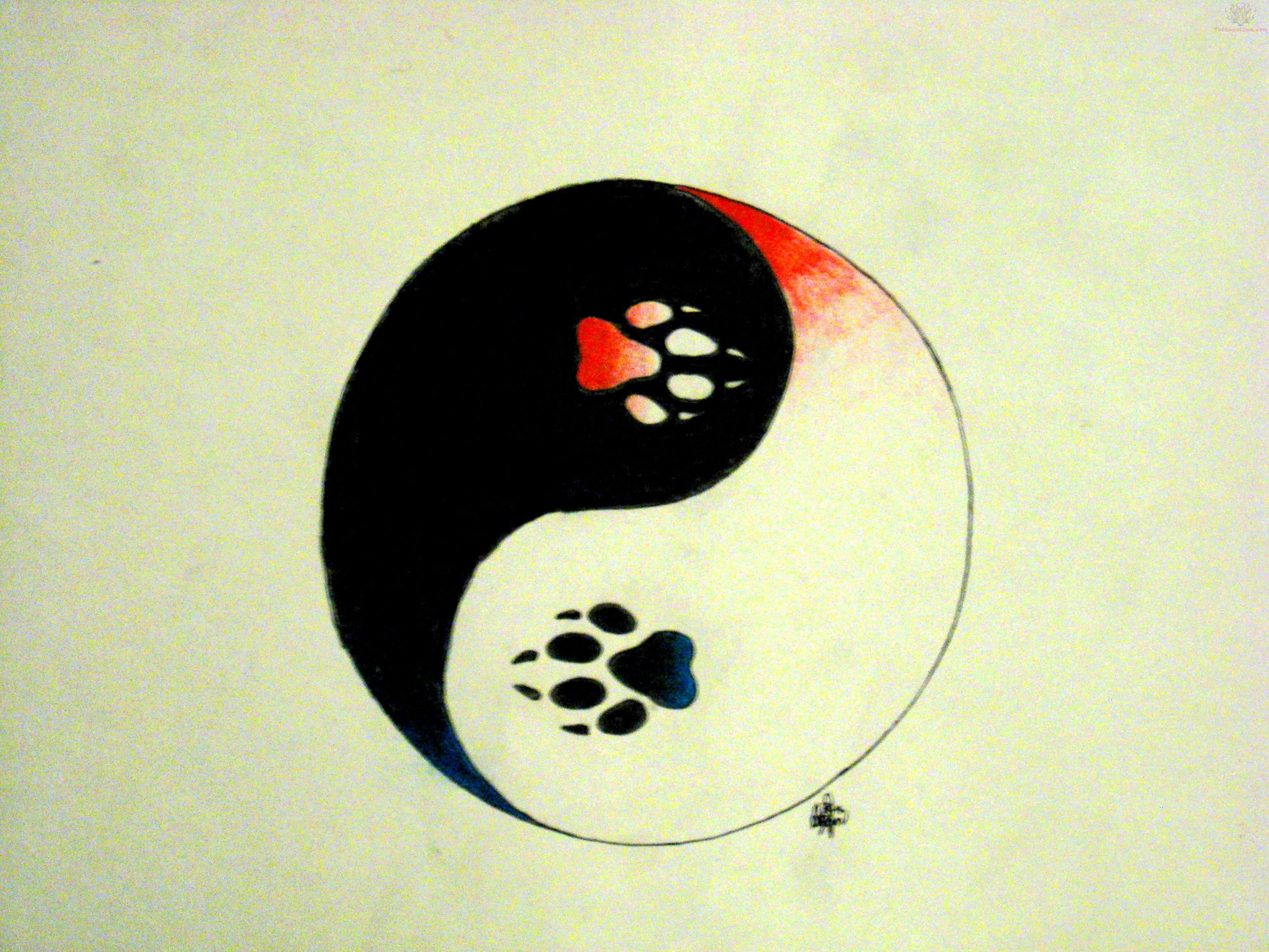 Pawprints Ying Yang Tattoo