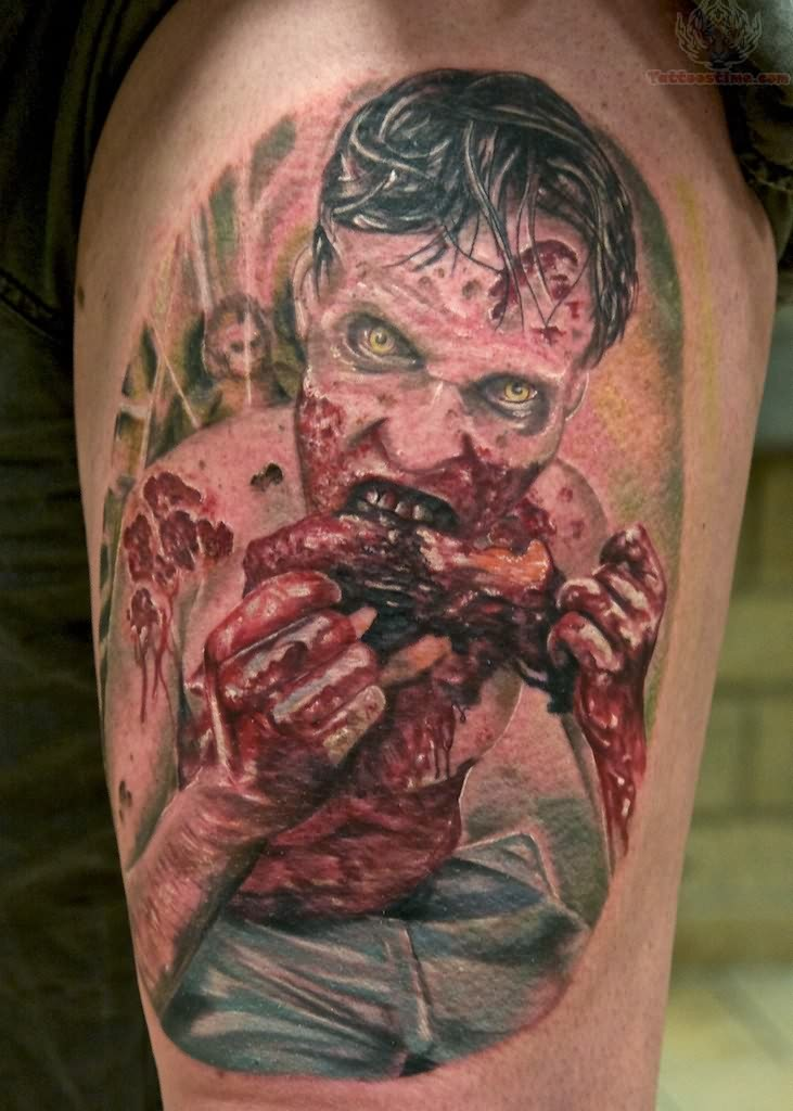 walking dead zombie tattoo. Black Bedroom Furniture Sets. Home Design Ideas