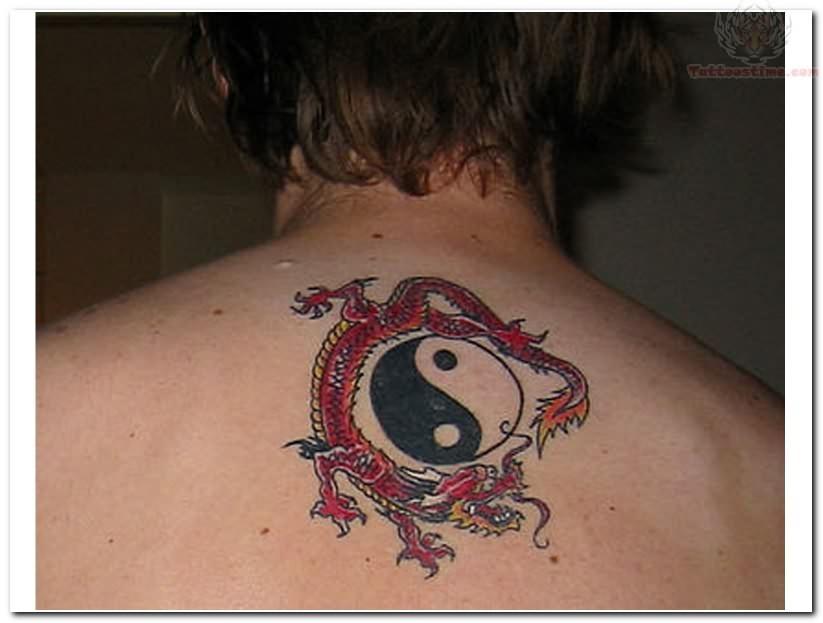 ying yang back body tattoo. Black Bedroom Furniture Sets. Home Design Ideas