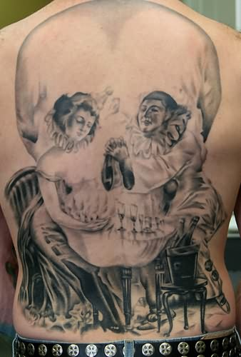 Big Skull Clown Tattoo On Full Back
