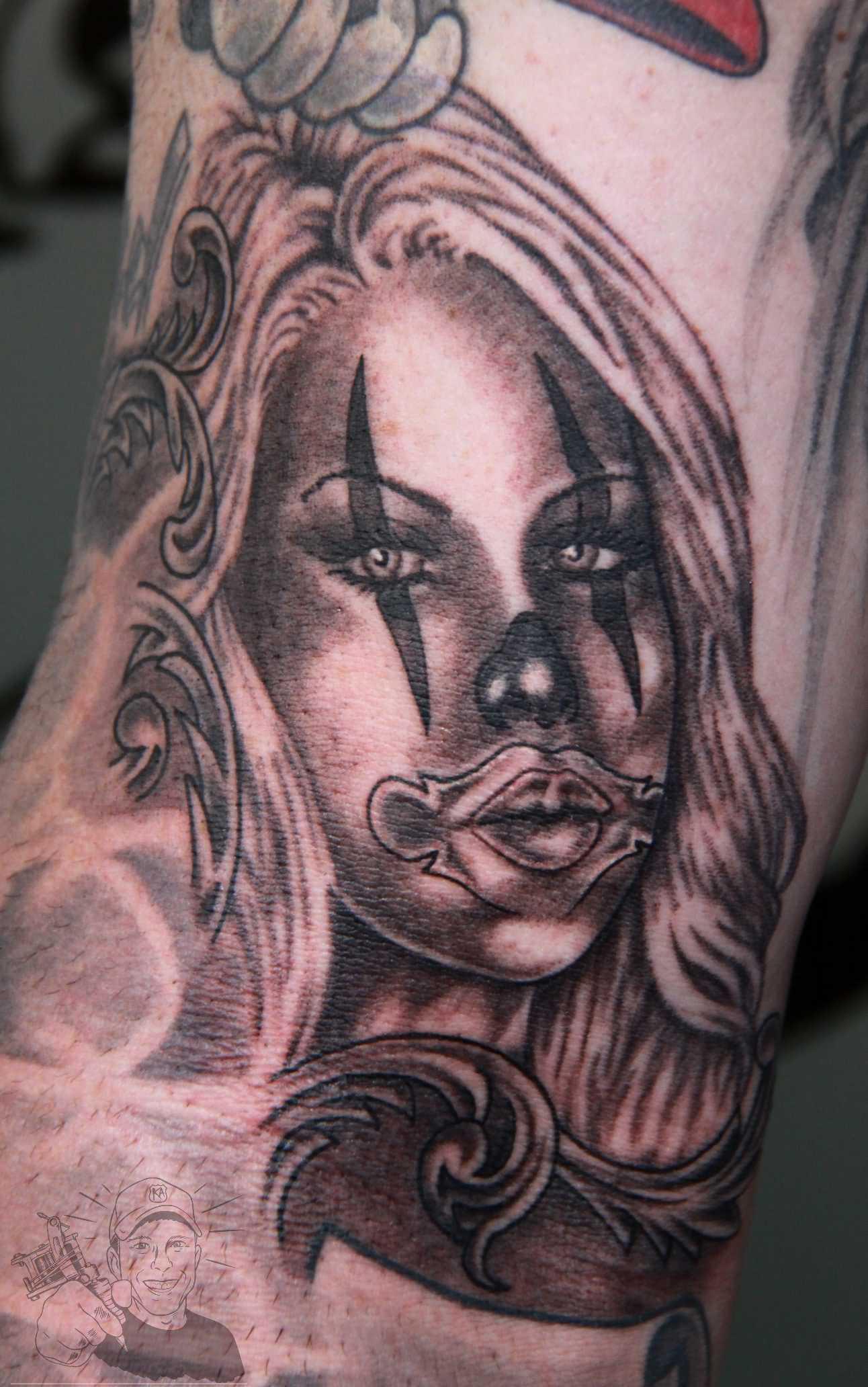clown girl tattoo design. Black Bedroom Furniture Sets. Home Design Ideas
