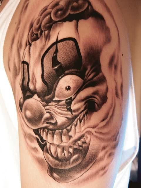 Evil Clown Tattoo Flash