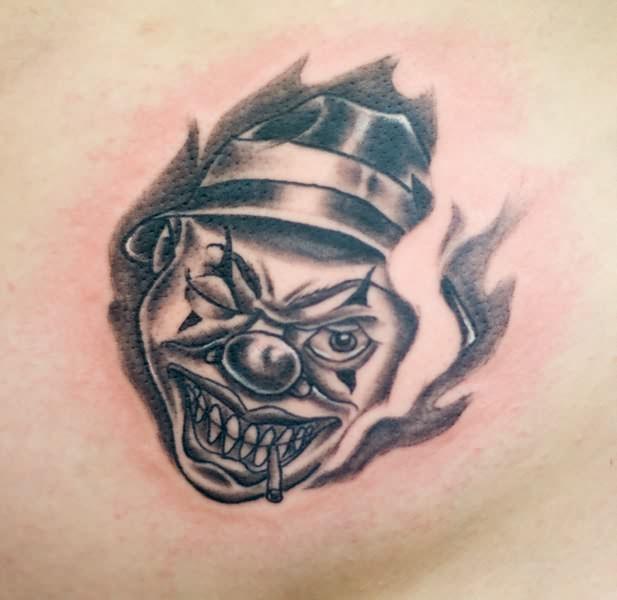 Funny Evil Clown Tattoo