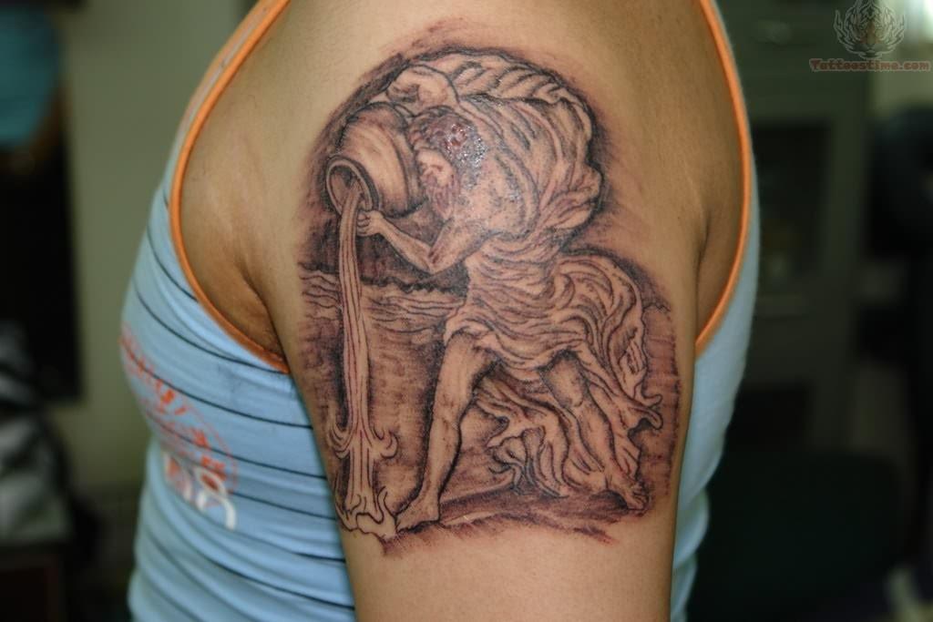 Aquarius Zodiac Tattoo On Back